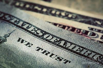 In God We Trust Motto On One Hundred Dollars Bill Print by Michal Bednarek