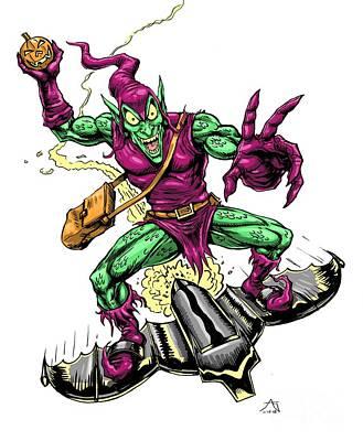 Comic Books Drawing - In Green Pursuit by John Ashton Golden
