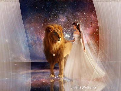 In His Presence  With Title Print by Jennifer Page