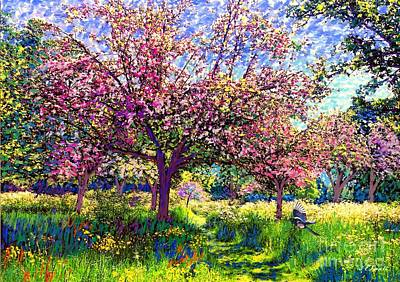 Wildlife Landscape Painting - In Love With Spring, Blossom Trees by Jane Small
