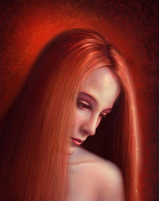 Redhead Mixed Media - In Mourning by Philip Straub