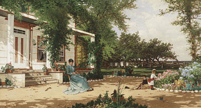 Bed Painting - In My Neighbours Garden by Alfred Thompson Bricher