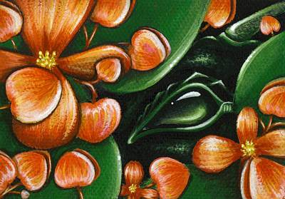 Dragon Painting - In The Begonias by Elaina  Wagner