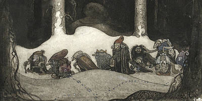 Folklore Painting - In The Christmas Night  by John Bauer