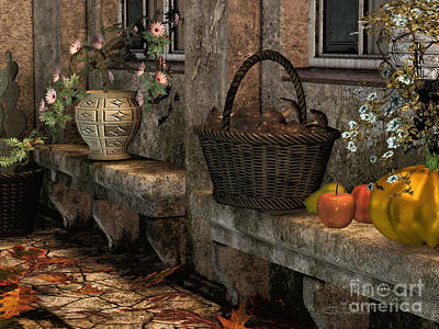 In The Courtyard Print by Jutta Maria Pusl