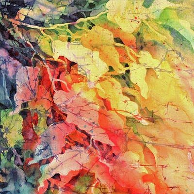 Fiber Art Painting - In The Flow Of Leaves by Deborah Younglao