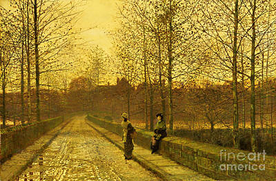 Road Painting - In The Golden Gloaming by John Atkinson Grimshaw