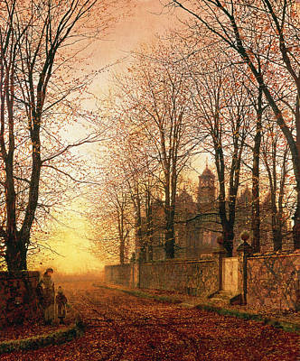 In The Golden Olden Times Print by John Atkinson Grimshaw