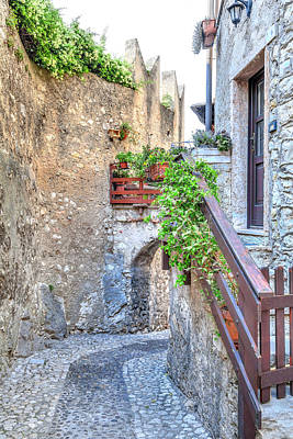 Photograph - in the historical old town of the charming village Malcesine  by Regina Koch