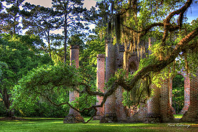 In The Light Spanish Moss Old Sheldon Church Ruins Print by Reid Callaway