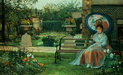 Blue Dresses Painting - In The Plesaunce by John Atkinson Grimshaw