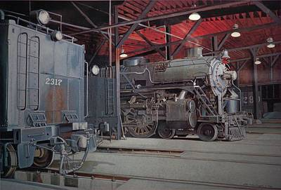 Egg Tempera Painting - In The Roundhouse by Peter Muzyka