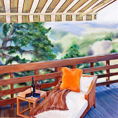 Glass Of Wine Painting - In The Shade by Denise H Cooperman