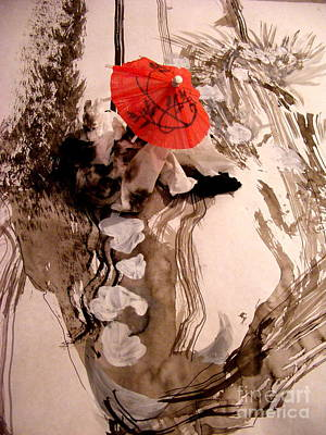 Sepia Ink Mixed Media - In The Winter Garden by Nancy Kane Chapman