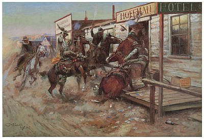 Tavern Painting - In Without Knocking by Charles M Russell
