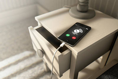 Bedside Table Digital Art - Incoming Call Cellphone Next To Bed by Allan Swart