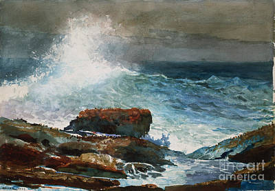 Incoming Tide Painting - Incoming Tide Scarboro Maine by Celestial Images
