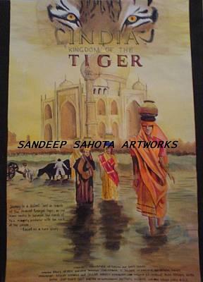 Orlando Bloom Drawing - India Kingdom Of The Tiger by Sandeep Kumar Sahota
