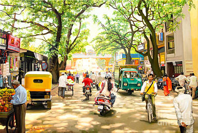Painting - India Street Scene 4 by Dominique Amendola