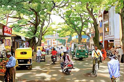 Oil Landscape Painting - India Street Scene by Dominique Amendola