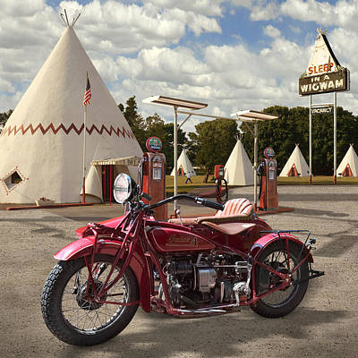 Indian 4 Motorcycle With Sidecar Print by Mike McGlothlen