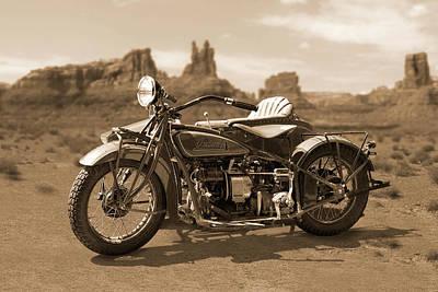Motorcycle Digital Art - Indian 4 Sidecar by Mike McGlothlen