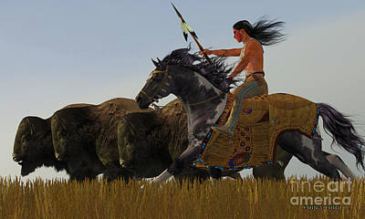 Bison Digital Art - Indian And Paint Horse by Corey Ford