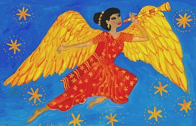 Sue Burgess Painting - Indian Angel Messenger by Sushila Burgess
