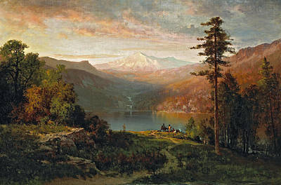 Thomas Hill Painting - Indian By A Lake In A Majestic California Landscape by Thomas Hill