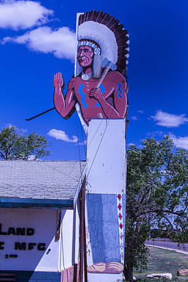 Indian Chief Sign Arizona Print by Garry Gay