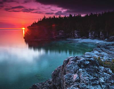 Indian Head Cove Sunrise Flare Print by Cale Best