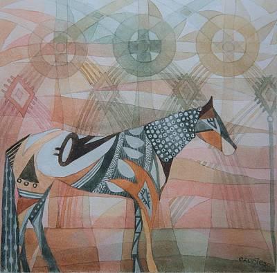 Native American Symbols Painting - Indian Horse by Ezartesa Art