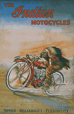 Indian Motocycles 1914 Print by Daniel Hagerman