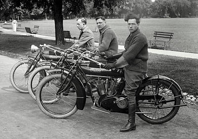 Classic Cycle Photograph - Indian Motorcycle Run C. 1920 by Daniel Hagerman