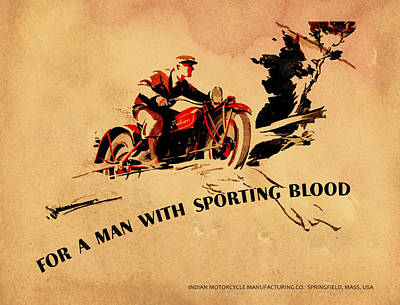Adverts Photograph - Indian Motorcycle - Sporting Blood 1930 by Mark Rogan