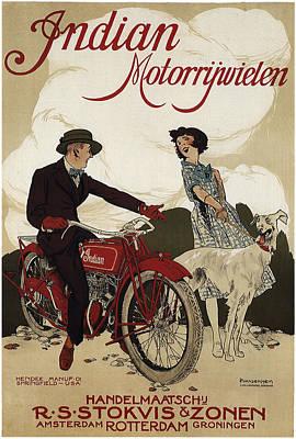 Dog Walking Digital Art - Indian Motorrywielen  C. 1915 by Daniel Hagerman