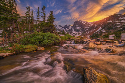 Colorado Sunset Photograph - Indian Peaks Sunset by Darren  White