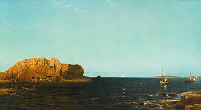 Arthur Quartley Painting - Indian Rock. Narragansett Bay by Arthur Quartley