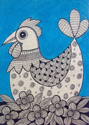 Madhubani Painting - Indian Rooster  by Vidushini  Prasad