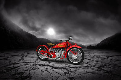 Indian Scout 1928 Mountains Print by Aged Pixel
