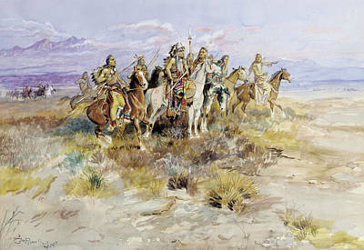 Wild Horse Drawing - Indian Scouting Party by Charles Marion Russell