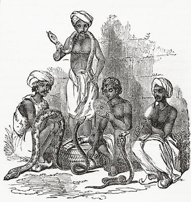 Indian Snake Charmers In The 19th Print by Vintage Design Pics