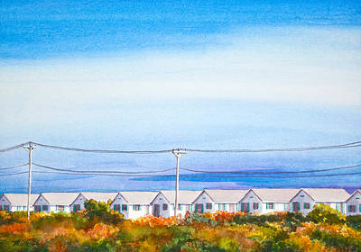Indian Summer Days Cottages North Truro Massachusetts Watercolor Painting Print by Michelle Wiarda