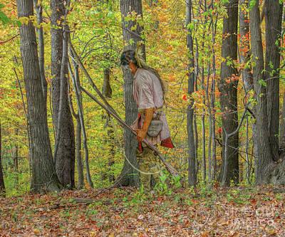 Huron Indian Digital Art - Indian Warrior Early Fall by Randy Steele