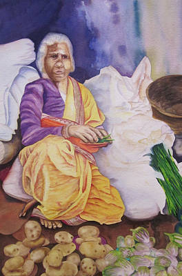 Green Beans Painting - Indian Woman At Market IIi by Teresa Beyer