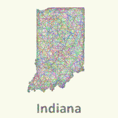 Indiana Line Art Map Print by David Zydd