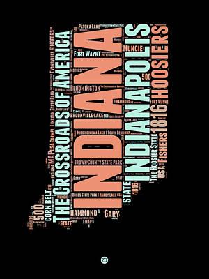 Indiana Digital Art - Indiana Word Cloud Map 1 by Naxart Studio