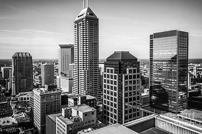 Indianapolis Aerial Black And White Photo Print by Paul Velgos