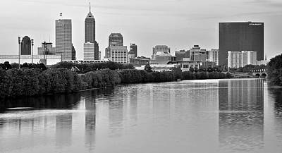 Indianapolis Photograph - Indianapolis Charcoal Panoramic by Frozen in Time Fine Art Photography
