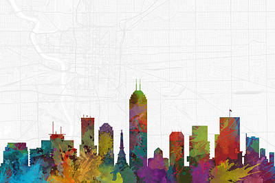 Indianapolis Digital Art - Indianapolis Cityscape And Streetmap Skyline by Jurq Studio